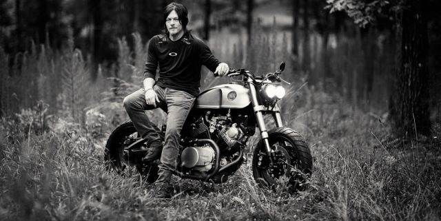 Norman Reedus on motorcycle.