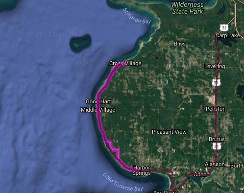 Best motorcycle rides in Michigan - Cross Village - Harbor Springs