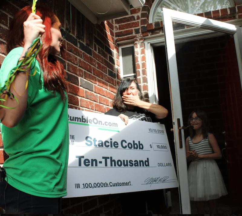 Milestone RumbleOn Customer Gets a Surprise $10,000 Knock on Her Door